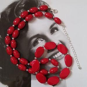 APPLE RED🍎 Beaded Silvertone Necklace & Bracelet